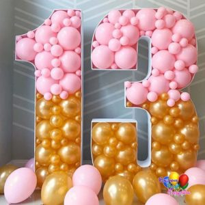YARD BALLOON DECOR, Mosaic Number Sculptures, balloonsforeverything.com