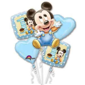 Baby Mickey 1st Birthday Balloon Bouquet
