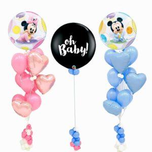 Baby Minnie Mickey Gender Reveal Balloon Bouquet