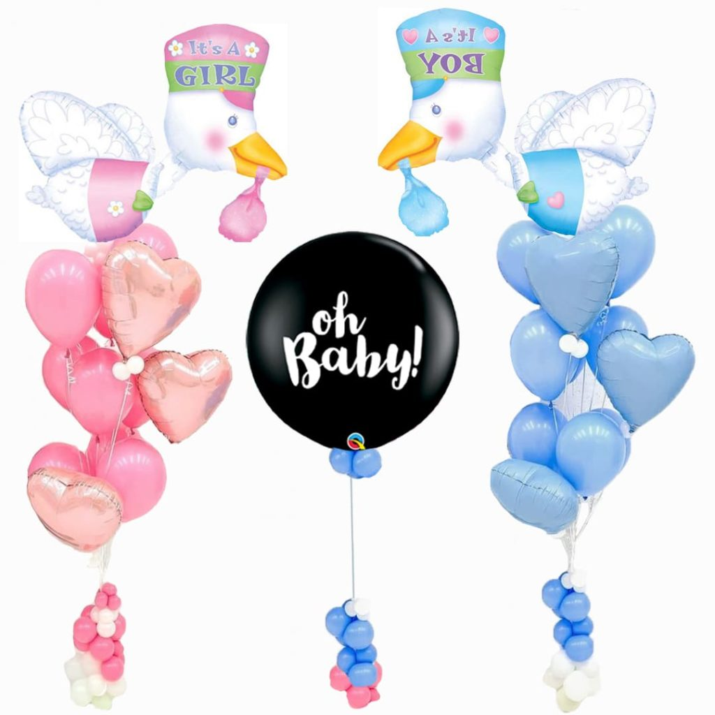 Stork Baby Gender Reveal Balloon Bouquet