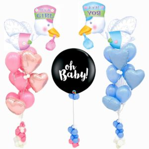Stork Baby Gender Reveal Balloon Bouquet