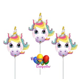 3 – 14in Unicorn Mini Shape Inflated Balloons